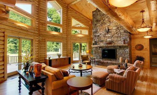 Custom Log Cabin Living Room
